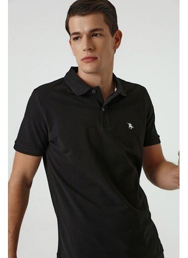 D'S Damat Regular Fit Yavruağzı Pike Dokulu T-Shirt Siyah